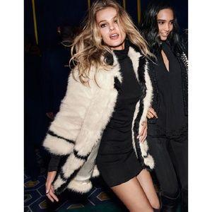 H&M Paris Collection White Black Faux Fur Jacket